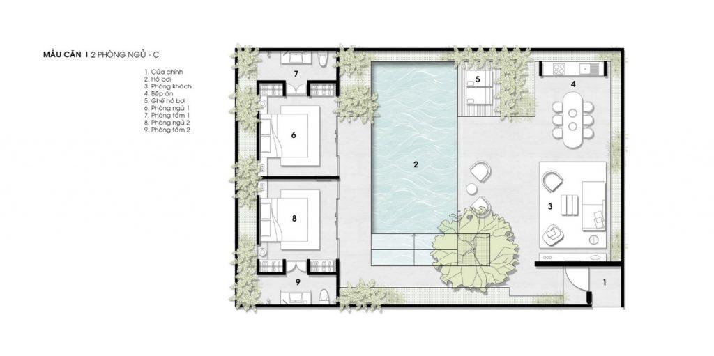 thiết kế biệt thự 2 phòng ngủ wyndham garden phú quốc