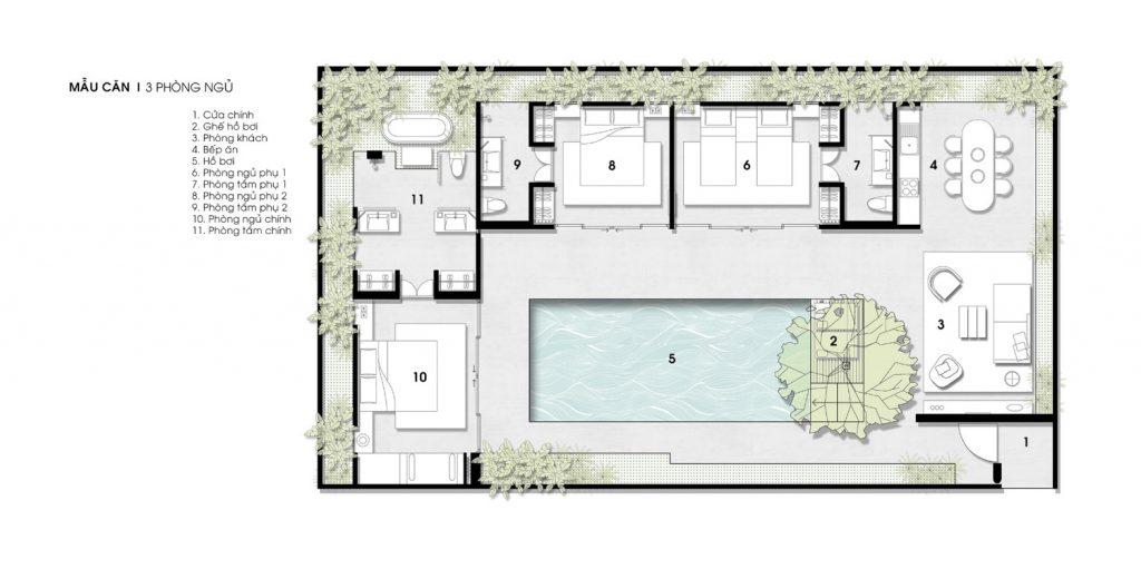 thiết kế biệt thự wyndham garden phú quốc loại 3 phòng ngủ