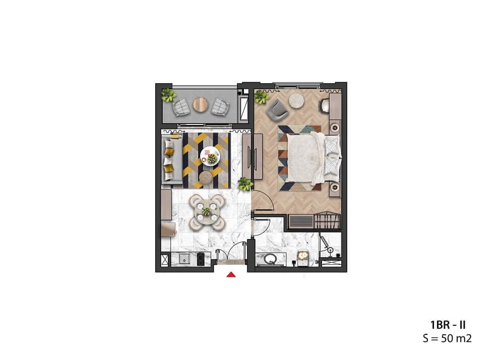 Căn hộ 1 Phòng ngủ 50m2 - Sun Grand City Hillside Residence