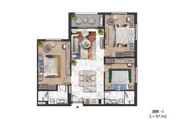 Thiết kế Layout Căn hộ 03 Phòng ngủ