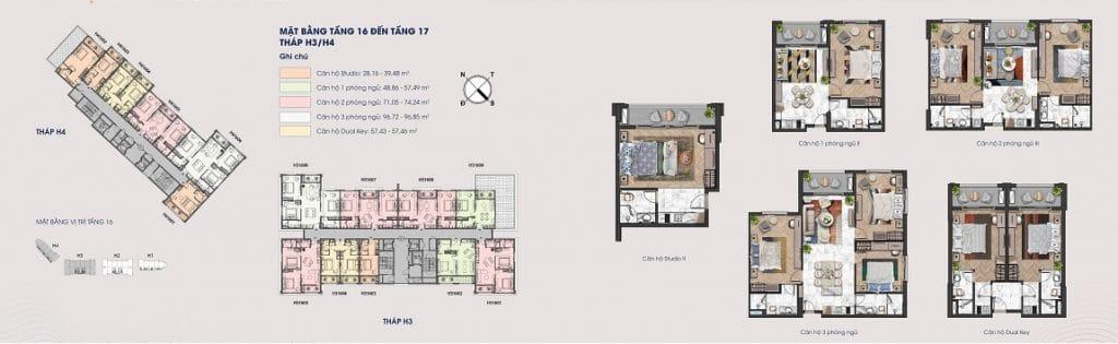Layout bằng tầng 16 và 17