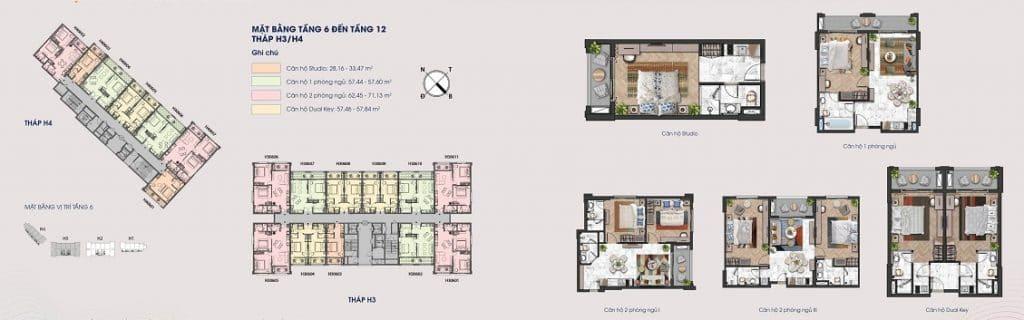 Layout mặt bằng các tầng 6 đến tầng 12