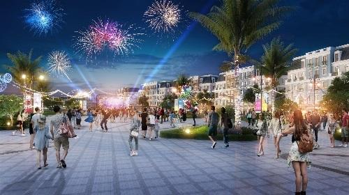 Phối cảnh Boutique Shophouse Melodia kề bên quảng trường âm nhạc rộng 8.500m2.
