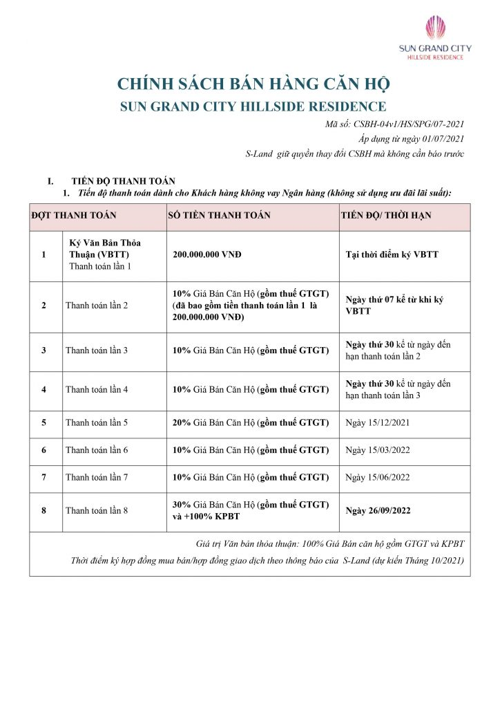 Chính sách bán hàng căn hộ Sun Grand City Hillside Residence tháng 7/2021