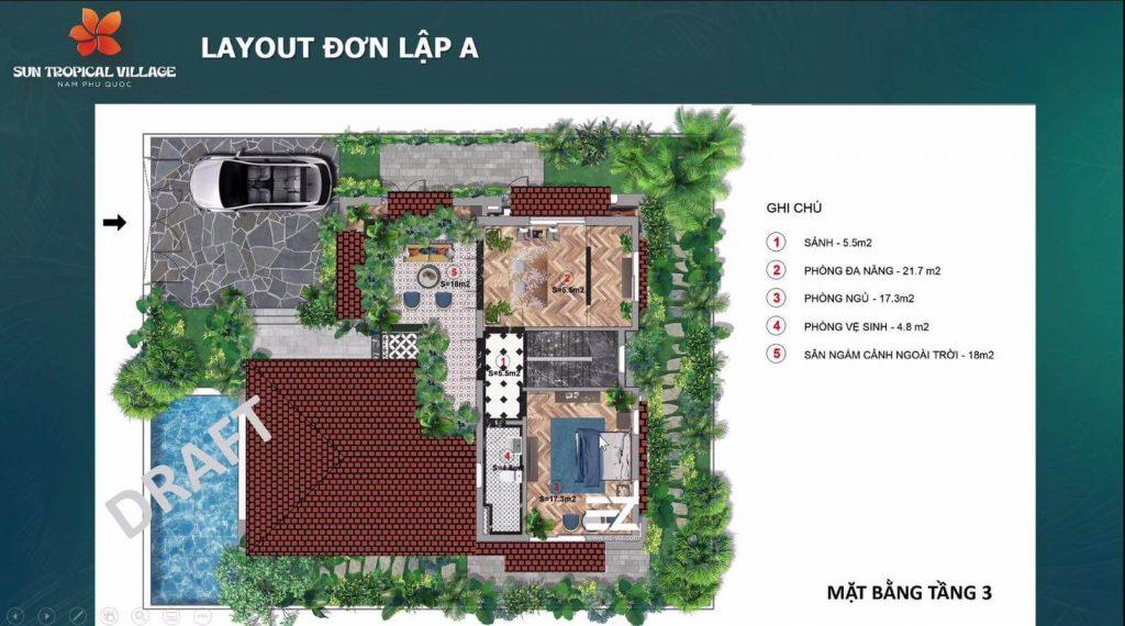 layout biet thu don lap A Sun Tropical Village