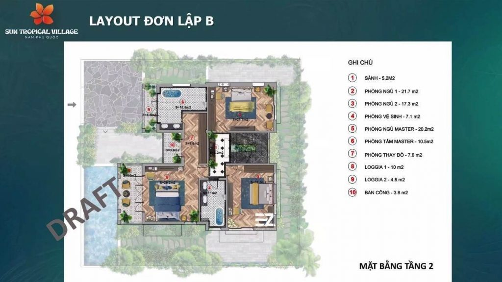 Thiết kế tầng 2 biệt thự đơn lập B