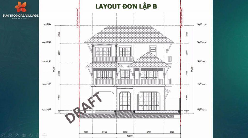 Layout thiết kế biệt thự đơn lập B