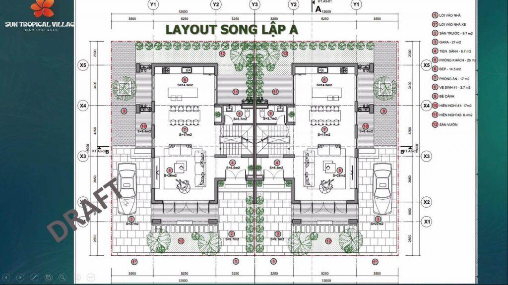 Layout thiết kế tầng 1 của biệt thự song lập
