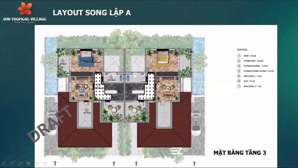 Thiết kế tầng 3 của biệt thự song lập A