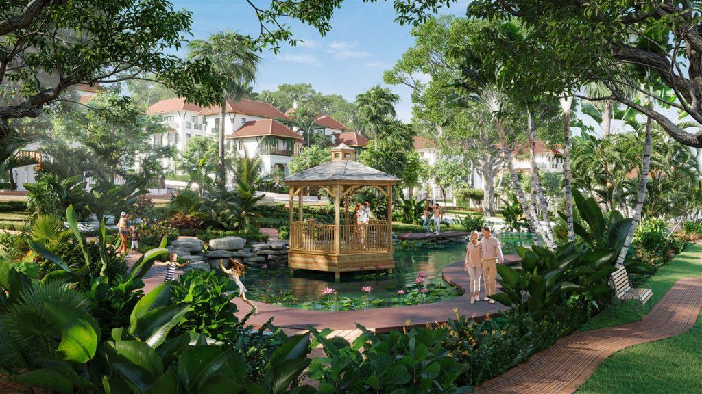 """Cư dân Sun Tropical Village được """"chạm"""" vào thiên nhiên mỗi ngày với 4 công viên nội khu."""
